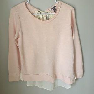 Long sleeve blush shirt with blouse back